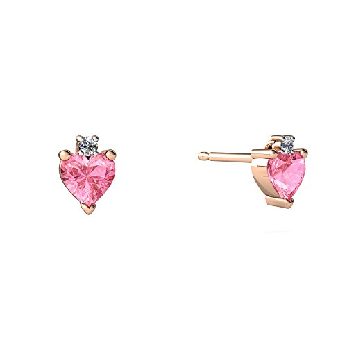 - 14kt Rose Gold Lab Pink Sapphire and Diamond 4mm Heart Stud Earrings