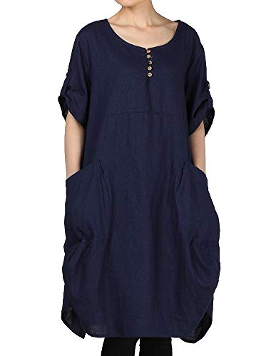 LaovanIn Women's Plus Size Tunic Dress Summer Cotton Linen T Shirt Knee-Length Dresses Large Navy ()