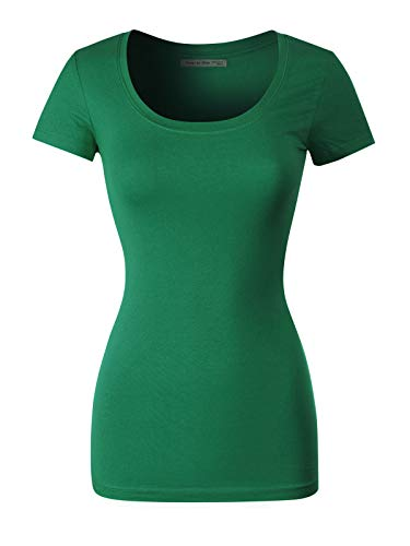 Essential Scoop Neck Short - Design by Olivia Women's Basic Solid Casual Deep Scoop Neck Short Sleeve T-Shirt Kelly Green 3XL