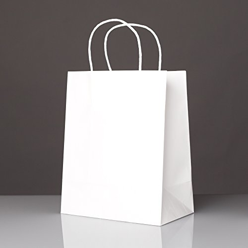 50 white craft paper bags with handles for gifts favors for Handles for bags craft