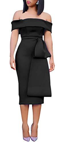 Women's Midi Pencil Dress Big Bow Front Knee Length Off Shoulder Cocktail Dress ()
