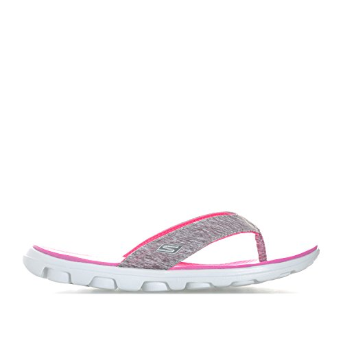 Skechers Skechers Ladies On The Go Flow Toe Post Summer Flip Flop Sandal Grey Pink Synthetic UK Size 4 (EU 37, US 7)