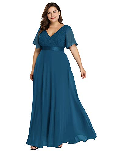 Women's Plus Size Wedding Guest Dress for Women Cocktail Evening Gown Teal US22