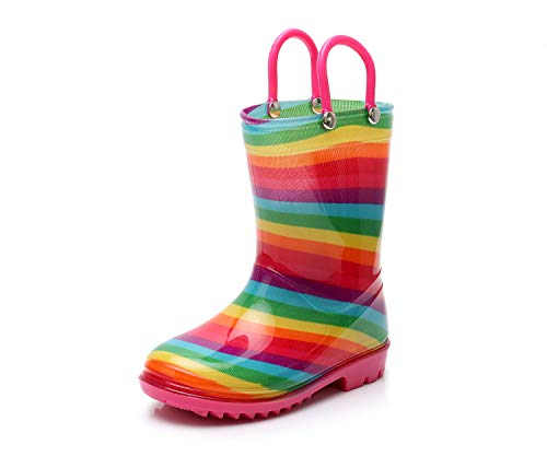 - TRIPLE DEER Girl Rainbow Rain Boots Kids Lightweight Cute Waterproof Raining Shoes with Easy-on Handles (Little Kid 1M, Pink)