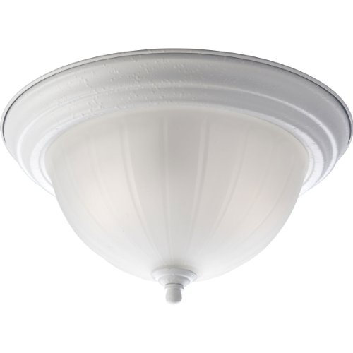 Progress Lighting P3817-30 2-Light Close-to-Ceiling with Etched Ribbed Glass in White Finish, ()