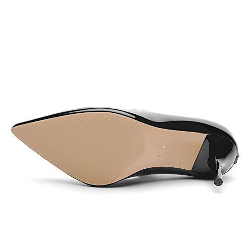 KHSKX-Hochhackigen Schuhe Frauen Im Frühjahr Und Im Herbst Neue Stil - Lady Gürtelschnalle Einzelne Schuhe Mode Reine Farbe Frauen Schuhe Mode Gut Aus black