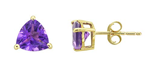 1.70 Ct. African Amethyst Solid 10K Yellow Gold Trillion Cut Stud Earrings