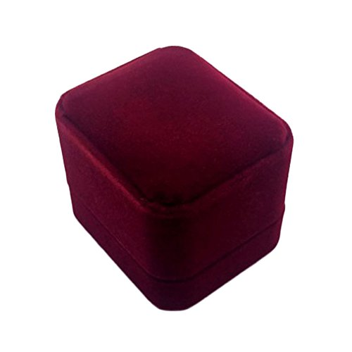 Gaosaili Classic Velvet Ring Gift Box for Engagement Wedding (Burgundy) Classic Burgundy Box