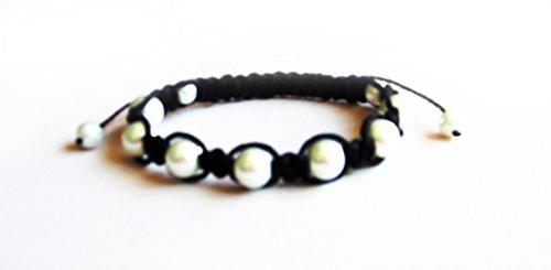 Shamballa Friendship Bracelet Pale White Faux Pearls & Black Cord Cute Gift (Shamballa Friendship Bracelet)