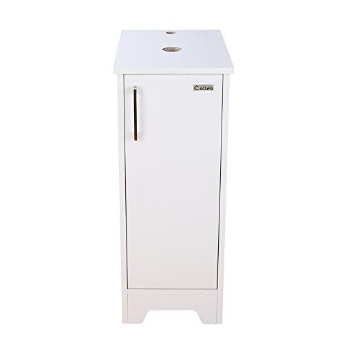 Adjustable Pedestal Vanity - U-Eway 13 inch White Bathroom Vanity, Wood Cabinet Units,Free Standing,Morden Sink Stand Pedestal for Single Small Bathroom,Adjustable Built-in Clapboard,Soft Closing Door,MDF Made (White)