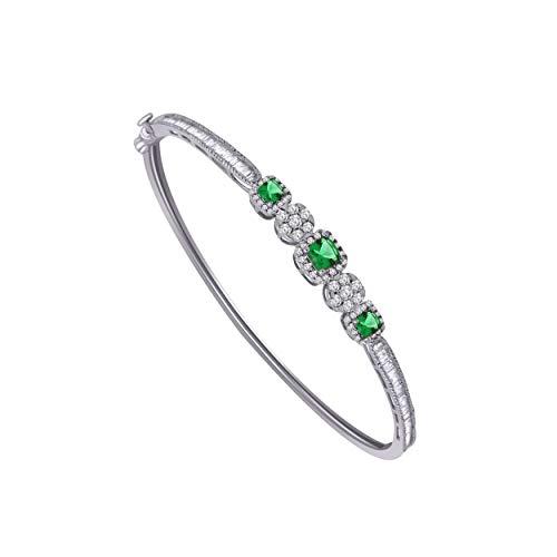 10K White Gold Multi-Shape Sim. Gemstone & 0.79 Ct Diamond Halo Style Bangle Bracelet (emerald & real diamond)