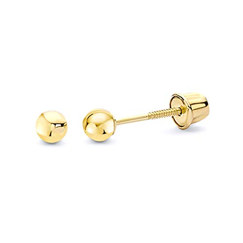 14k Yellow Gold 2mm Ball Stud Earrings with Screw Back