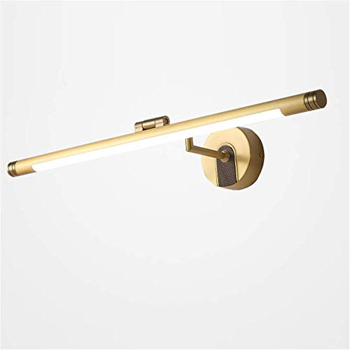 Mirror Front Light Vintage American Brass Carved Round Base Bathroom Lighting LED Bath Wall Cabinet Lamp Vanity Make Up Acrylic Mask Shade Full Copper Adjustable Angle Warm White Light,79cm ()
