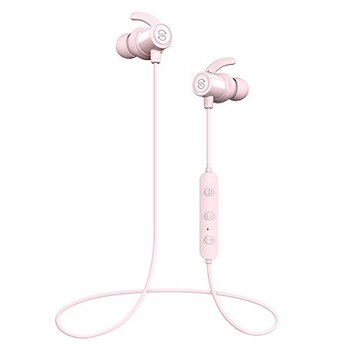 SoundPEATS Magnetic Wireless Earbuds Bluetooth Headphones Sport In-Ear IPX 6 Sweatproof Earphones with Mic (Super sound quality Bluetooth 4.1, aptx, 8 Hours Play Time, Secure Fit Design) (Pink)