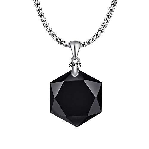 HERLANKKI 925 Black Obsidian/Blue Sandstone Necklace Star of David Pendant Hexagram Amulet Gemstone Stainless Steel Titanium Jewish Religious Jewelry