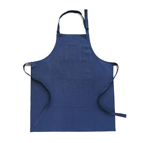 Solino Home Linen Kitchen Apron - Men & Women 100% Linen Bib Apron - Adjustable Straps with Pockets - European Flax, Blue