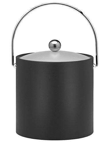 Kraftware Bartenders Choice Fun Colors Collection Ice Bucket 3-Quart, Black, Double Wall Construction, Keep Ice Perfectly Chilled, Hotel Ice Bucket, Guest Room Bar Area Ice Bucket, Bale Handle