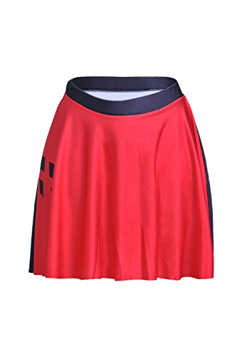 (Lady Queen Women's Harley Quinn Stretchy Flared Pleated A-Line Skater Skirt Size L Black)