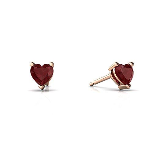 14kt Rose Gold Ruby 4mm Heart Heart Stud (Ruby Ring 14kt Gold Jewelry)