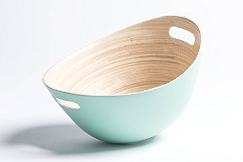 Salad Bowl | Modern Design Bowl Made From 100% Natural Bamboo | For Salad, Potato Chips and More – Different Colors Available - Baby Green ()