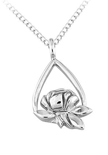 Memorial Tear Rose Sterling Silver Pendant -