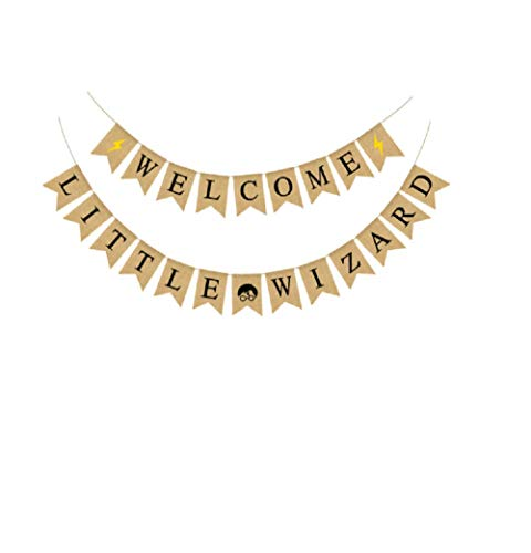 Halloween Banner WELCOME LITTLE WIZARD Letter Bunting Banner Sign Garland for Halloween Home Party Decoration -