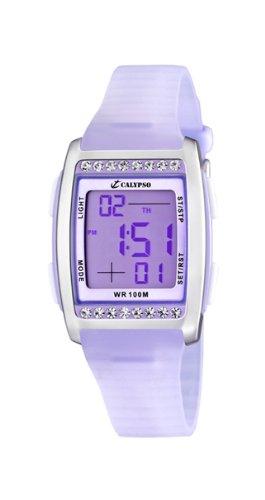 Calypso K6053/3 - Reloj digital de mujer de cuarzo con correa de plástico lila (luz, cronómetro, alarma) - sumergible a 100 metros: Amazon.es: Relojes