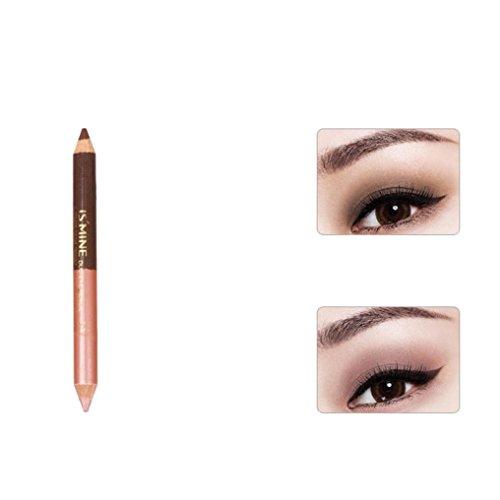 Matte Eyeshadow , Hunzed Women Double-headed Pearling Eyeshadow Pencil Lie Silkworm Pen Durable Waterproof Eye Shadow (D)