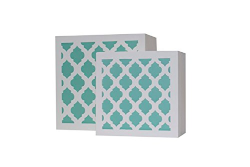 Blu Monaco White and Aqua Trellis Trinket Box Set – Beautiful and Trendy Jewelry Storage – Unique Design and Plenty of Storage Space – Premium Quality Boxes for the Home Baby White Trinket Box