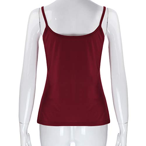 HHei_K Women Sexy Pure Color Leisure Keyhole Vest Summer Casual Cut Out Sleeveless Sling Shirt Blouse O-Neck Tank Top Wine by HHei_K (Image #2)