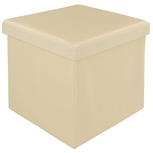 Homelux Faltbarer Sitzhocker mit Stauraum Sitzwürfel Aufbewahrungsbox Sitzbox 38 x 38 x 38 cm Beige