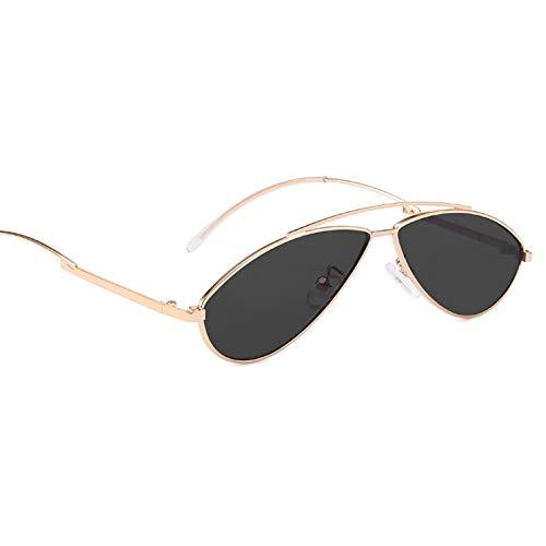 (Gnzoe Sunglasses Men Women Metallic Cat Eye Sunglasses Arched Frame Polarized Gold Grey)