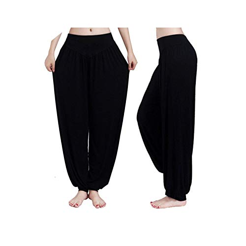 GoodGameWellPlay Yoga Pants Women Plus Size Colorful Bloomers Dance Yoga Taichi Full Length Pants Smooth,Black,S