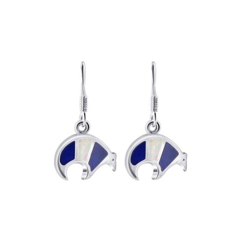 (925 Sterling Silver Created Blue Opal Inlay Bear Earrings with French Hook Findings)