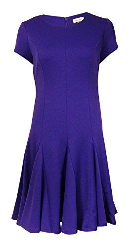 Calvin Klein Women's Crewneck Short Sleeves Ponte Flared Dress (8P, Byzantine)