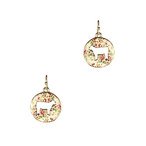 Wonderent Cow Cut Out Floral Circle Earring