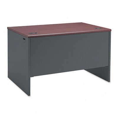 HON 38000 Series Right Pedestal Desk - Single Pedestal Small Office Desk, 48'' W, Mahogany/Charcoal (H38251) by HON (Image #1)