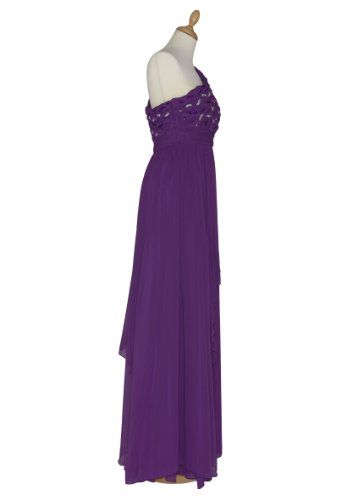 Langes one shoulder Chiffon Abendkleid 2634 lila Gr. 34 - 44