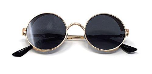 ciegos UV400 gafas 50 Cyber redondas té con sol rave Steampunk gafas de Ultra gótico maravillosamente gafas de cobre Negro Marco Protección vintage elaborados Con Oro wPnqY6xp6