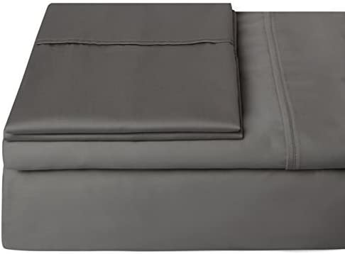 2 Pillowcase Extra Deep Pocket Egyptian Cotton Dark Grey Solid 1 Fitted Sheet