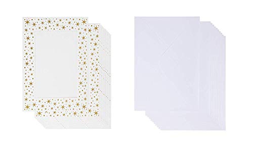 (36-Pack Photo Insert Note Cards - Includes Paper Picture Frames and Envelopes - Gold Foil Stars Design Photo Mats, Photo Insert Greeting Cards,Holds 5 x 7 Inches)