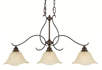 Murray Feiss F2048/3GBZ, Morningside Island Chandelier, 3 Light, 300 Watts, Grecian Bronze