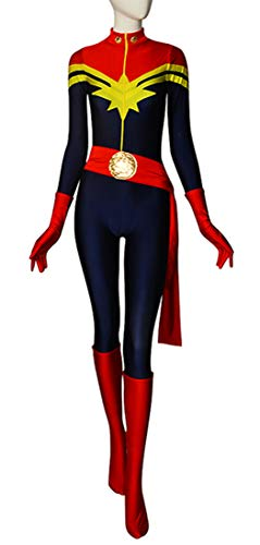 Ms Marvel Costume Carol Danvers Lady Superhero Costume Spandex Tight Halloween Cosplay Costume (X-Large) -