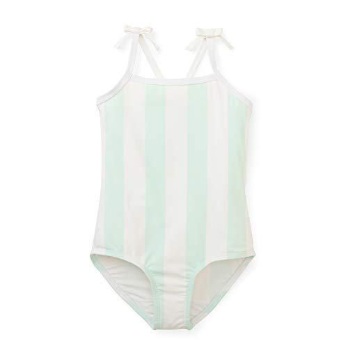 - Hope & Henry Girls' Aqua and White Striped Cross Back Swim Made with Recycled Fibers