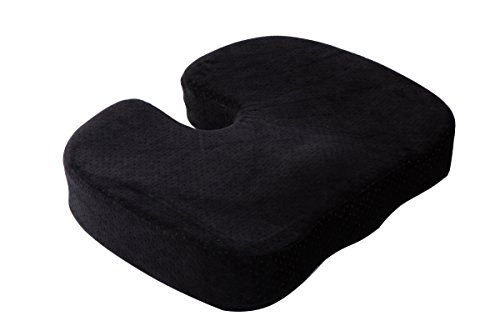 Aeris Memory Foam Seat Cushion -Chair Pad with a Buckle to Prevent Sliding - Machine Washable Black Plush Velour Cover (Foam Cushion Square Seat Memory)