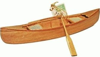 Hand Crafted Wooden Canoe With Caneseat Miniature Replica 11 Inch