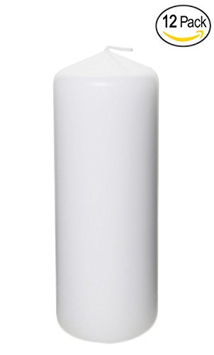 Pillar Candle for Wedding, Birthday, Holiday & Home Decoration by Royal Imports, 2'x6', White Wax, Set of 12
