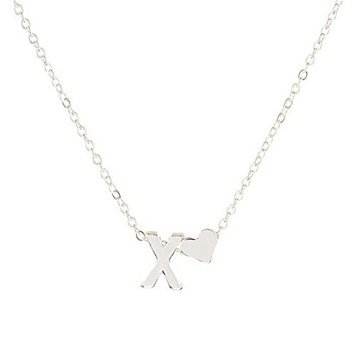 SUZN Fashion English A-Z Letter Necklace With Heart Alphabet Pendant Necklace