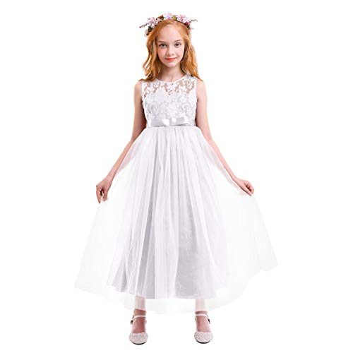 (Big Girls Tulle Lace Dress Wedding Communion Evening Birthday Party Bowknot Dress Flower Girl Princess Dress White)