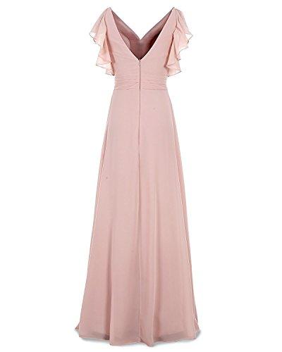 Chiffon Purple Ruched AN130 Dress Evening Long Anlin V Bridesmaid Formal Neck Dress 15gUBPqwx